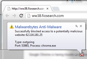 Malware Blocks FioSearch Malware
