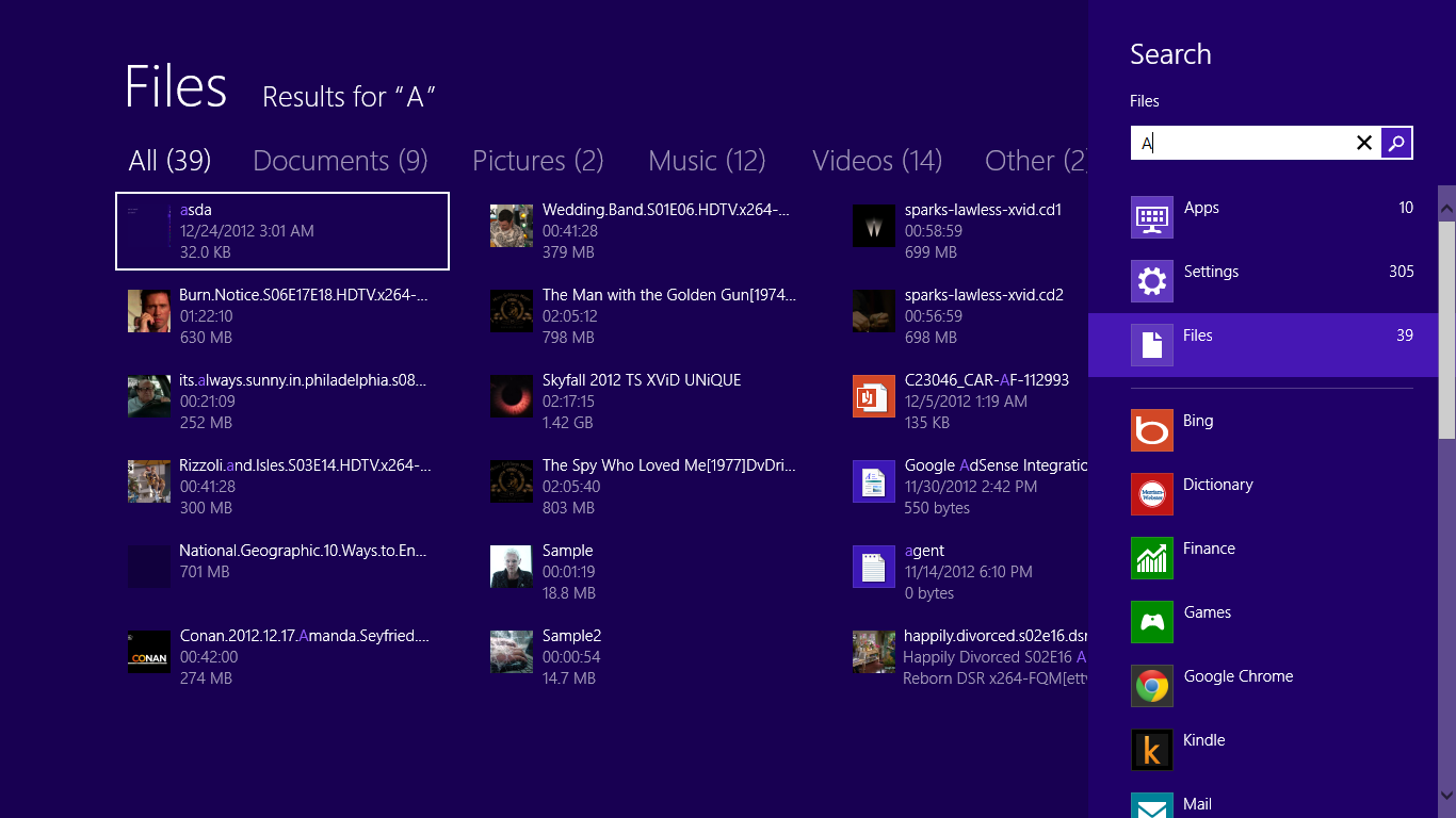 Windows 8 Search Files