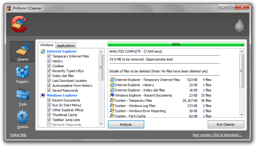 CCleaner Analyze Cleaner