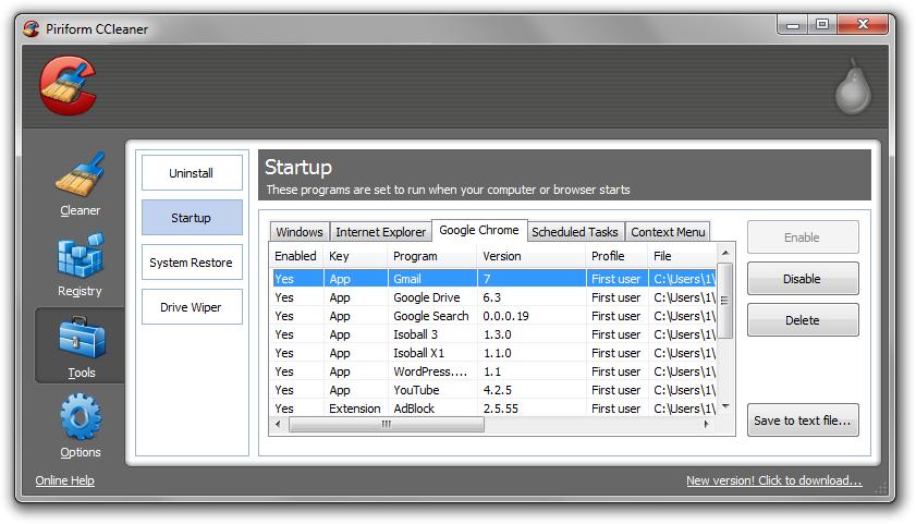 CCleaner Startup
