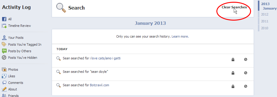 Clear Facebook Searches