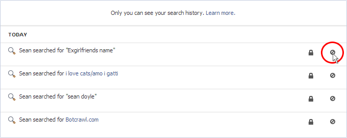 Remove Individual Facebook Search Terms