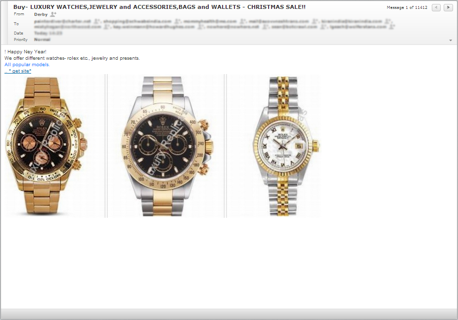 Buy- LUXORY WATCHES, JEWELRY and ACCESSORIES CHRISTSMAS SALE Email Scam