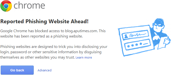 Chrome Reported Phishing Website Ahead!