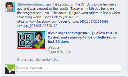 Dr Oz Facebook Comment