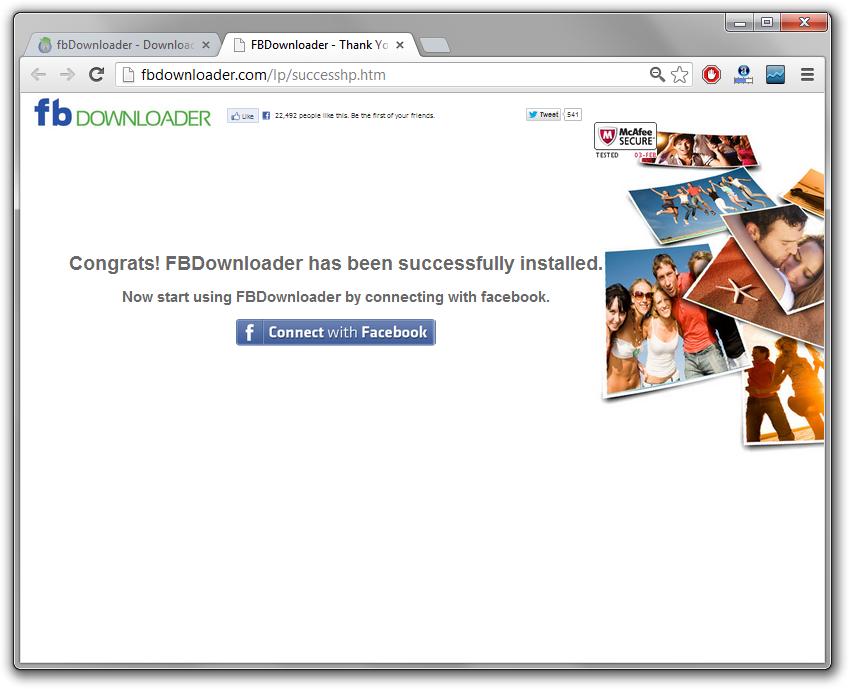 FBDownloader Malware Install