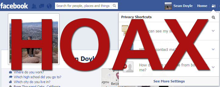 Facebook Privacy Settings Hoax Scam