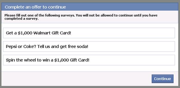 Facebook Red Survey Offer Scam