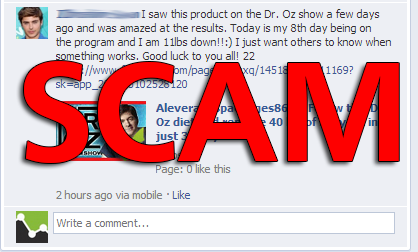 "Facebook Scam: ""I saw this product on the Dr. Oz show"" Comment Spam"