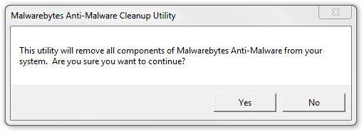Malwarebytes Anti-Malware Cleanup Utility Notification