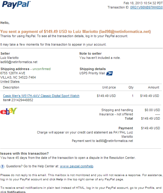 Fake Paypal Receipt for your PayPal payment to Luiz Mariotto Phishing Scam