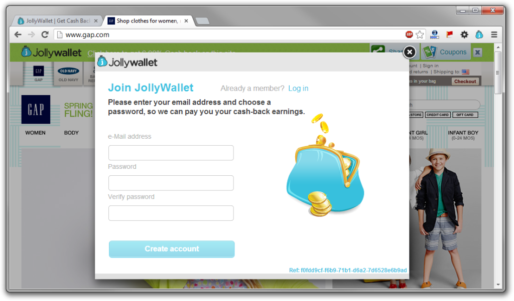 JollyWallet Popup