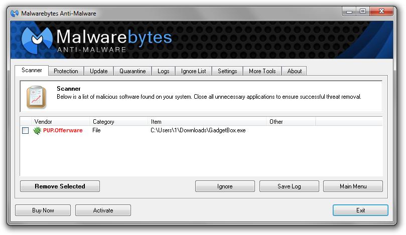 Malwarebytes Gadgetbox