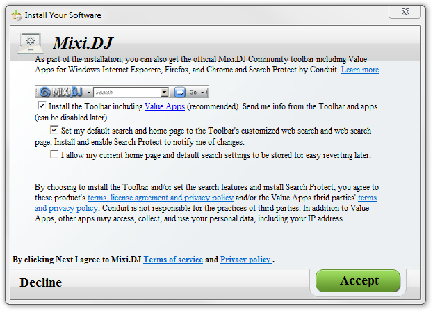 MixiDJ Toolbar Software