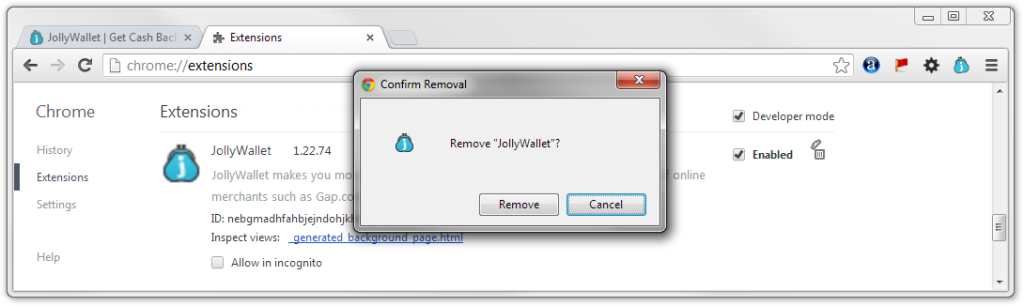 Remove JollyWallet Extension Google Chrome