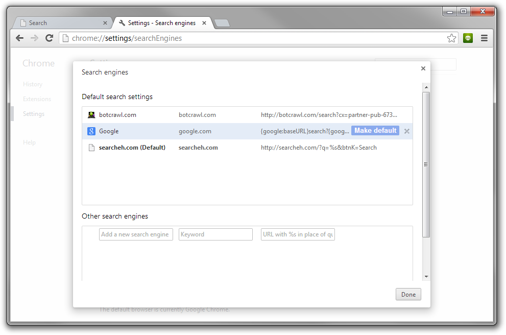 Remove Searcheh.com Google Chrome