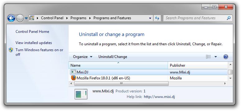 Uninstall Mixi.DJ