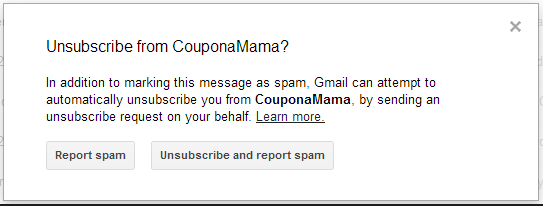 Unsubscribe from CouponMama spam email