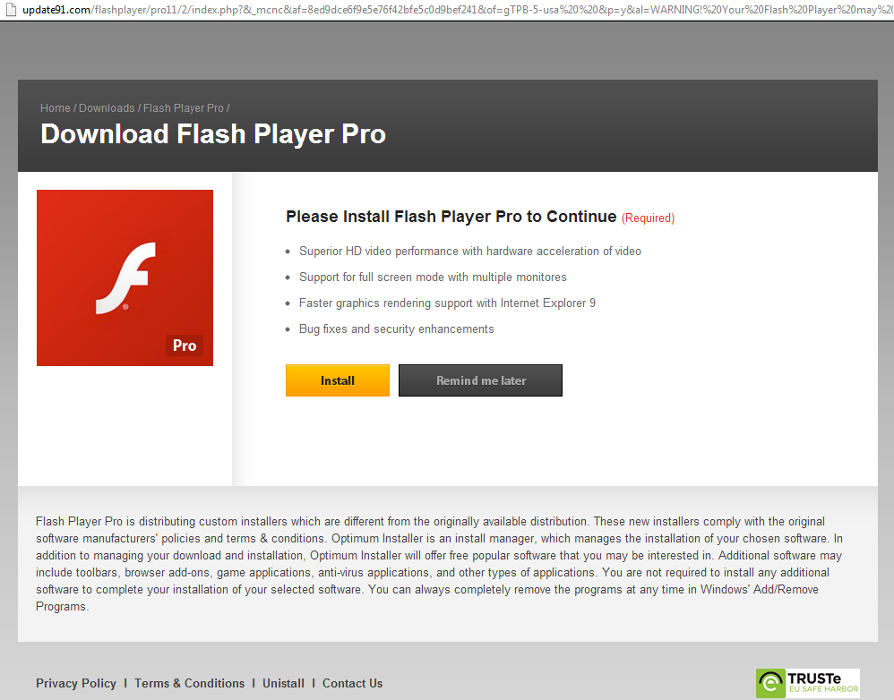 Update91 Fake Download Flash Player Pro