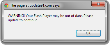 WARNING! Your Flash Player may be out of date Pop-up Scam