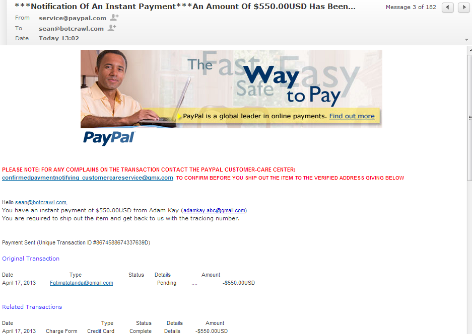 Fake PayPal notification email 864-897-9653