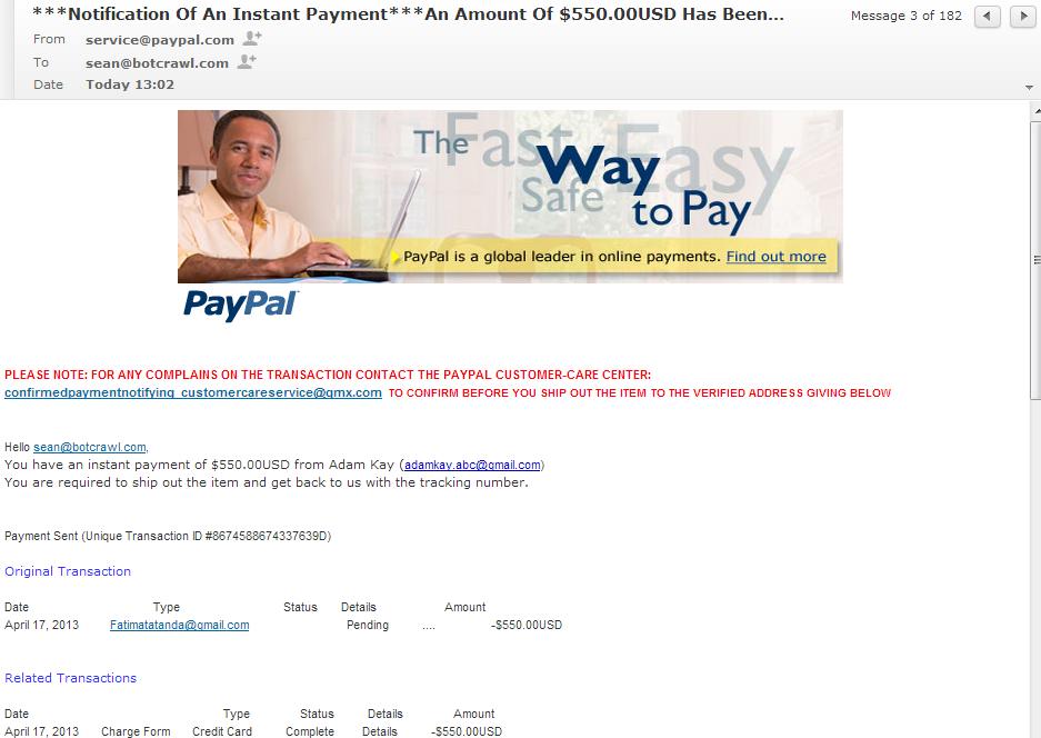 Fake PayPal notification email 864-897-9653