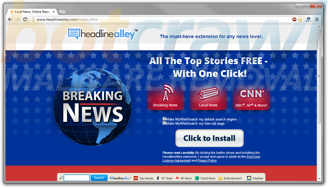 Headlinealley virus remove