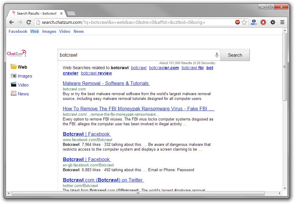 Remove Search.chatzum.com redirect