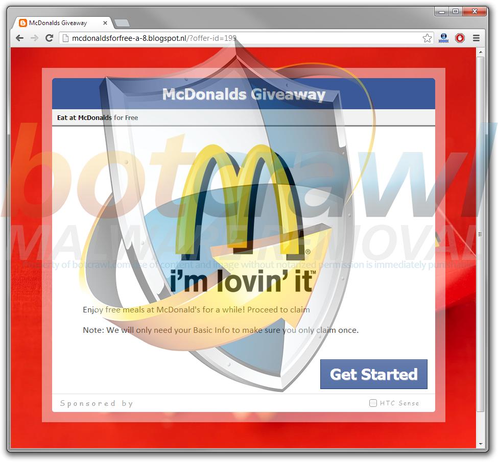 Free McDonalds Facebook scam