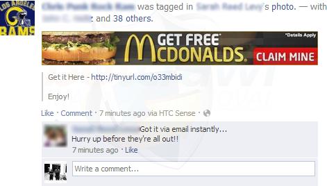 Get Free Mcdonalds Facebook scam