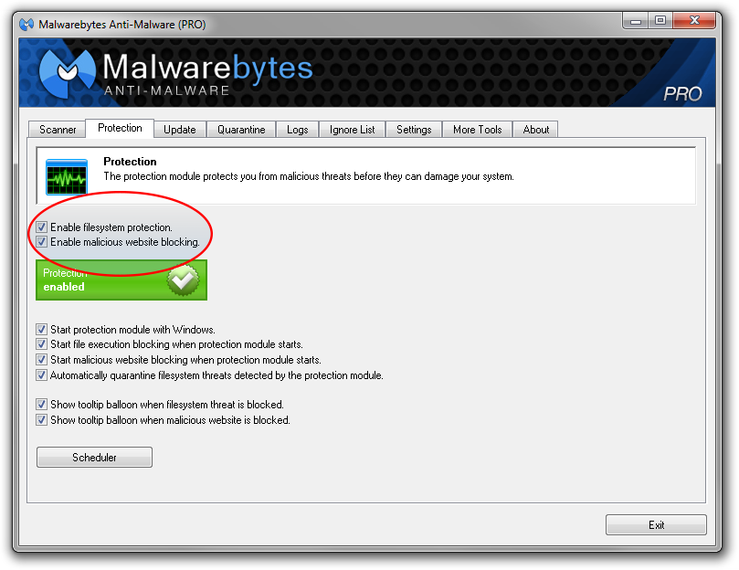 Malwarebytes real-time Protection