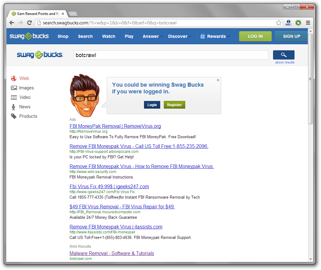search.swagbucks.com redirect removal