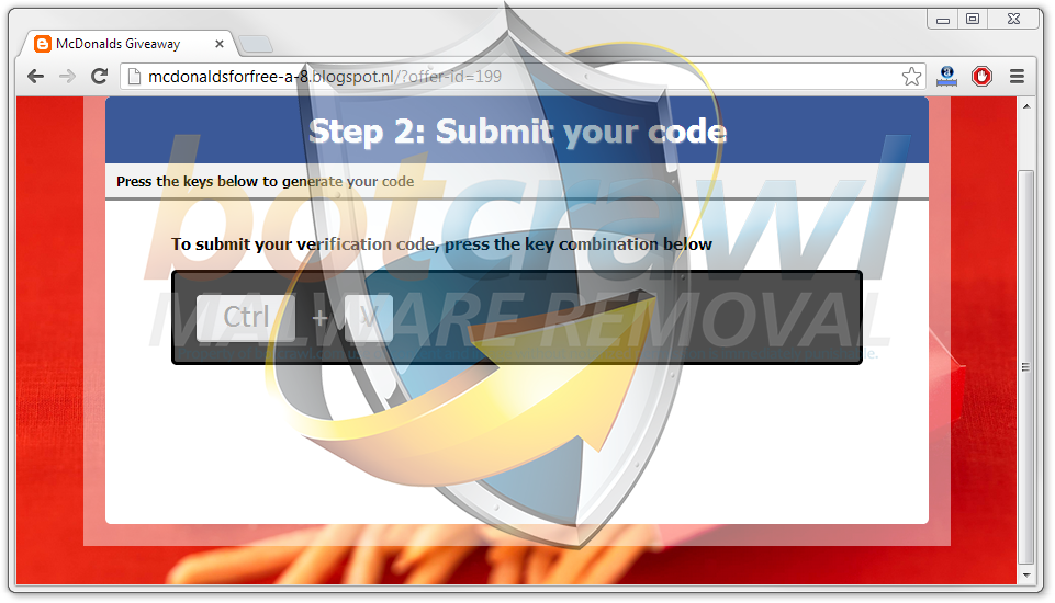 Submit your code McDonalds Facebook ctrl v