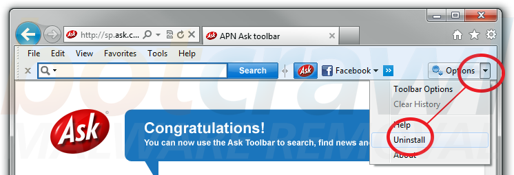 Uninstall Ask Toolbar addon