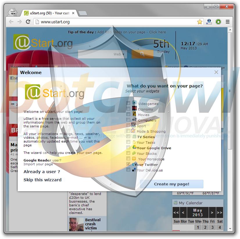 Ustart homepage hijacker