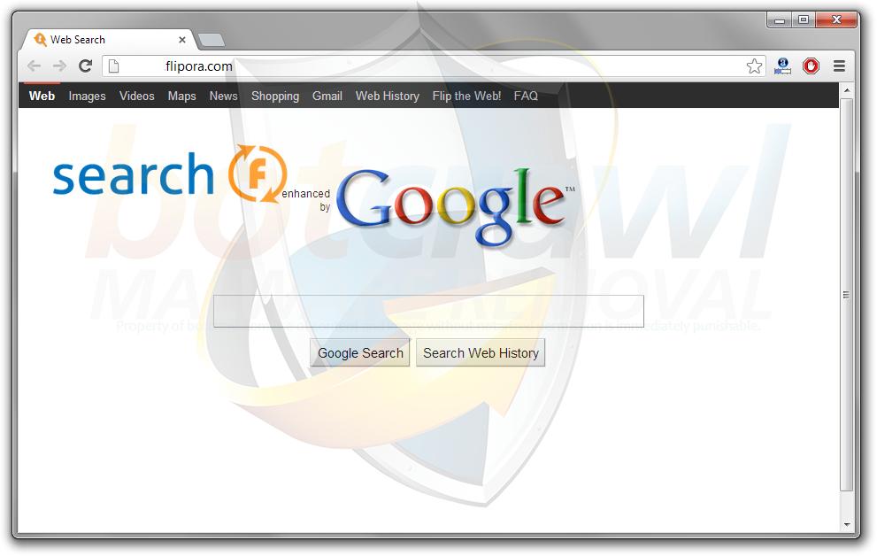 search Flipora redirect malware