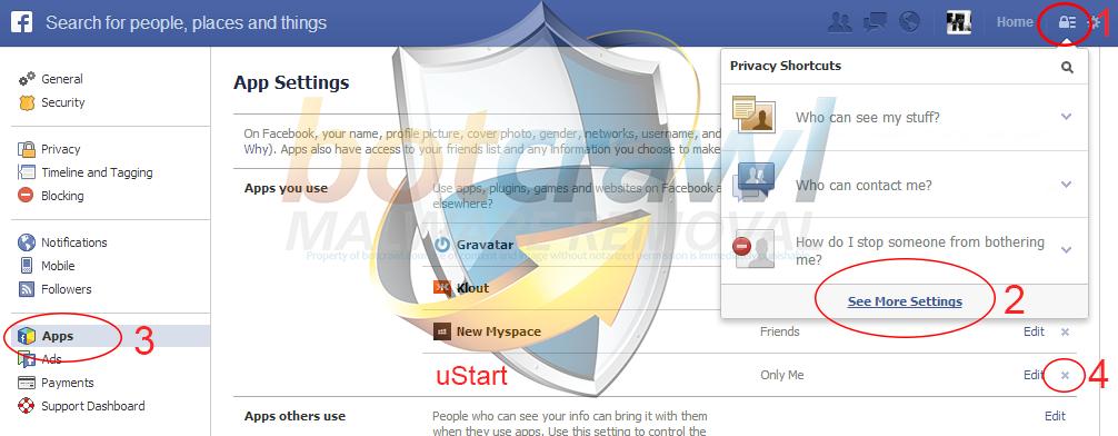 uStart app removal Facebook