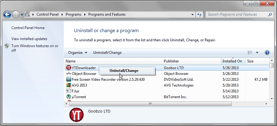 uninstall YTDownloader