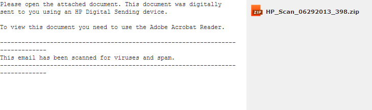HP Scan email spam