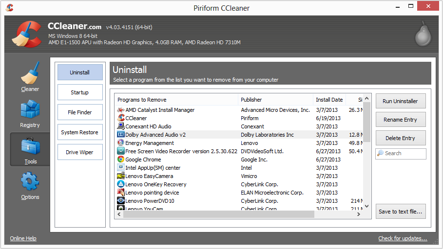 Uninstall software with CCleaner
