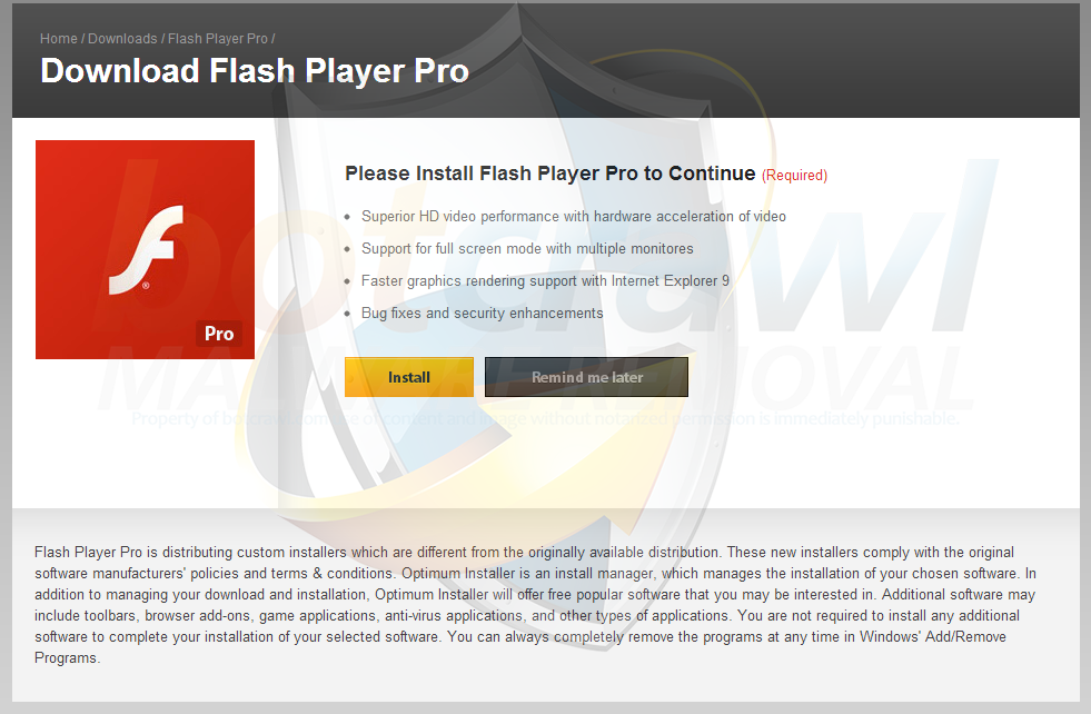Fake Flash Player Pro update advertisement