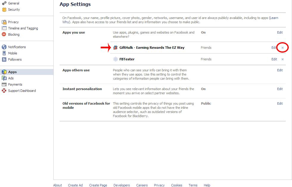 remove gifthulk facebook app