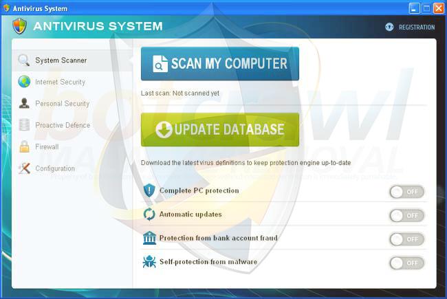Antivirus System virus removal