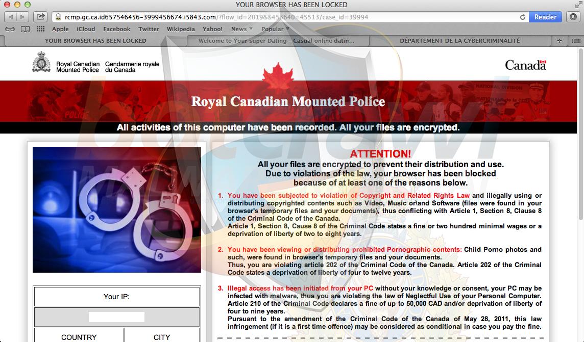 Mac Royal Canadian Mounted Police virus