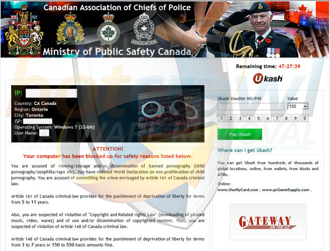 Ministry of Public Safety Canada virus removal