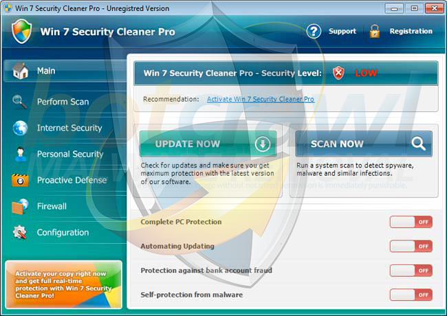 Win 7 Security Cleaner Pro removal