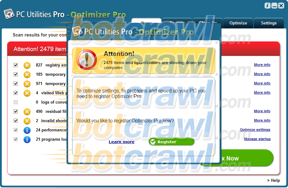 PC Utilities Pro - Optimizer Pro malware