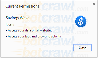Savings Wave Google Chrome permissions