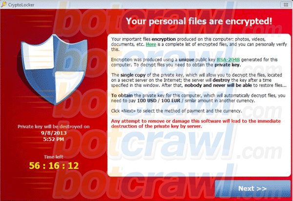 Your personal files are encrypted virus
