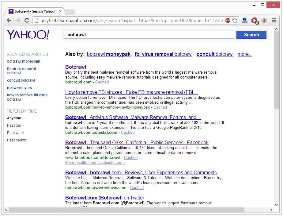 Search Goal Yahoo redirect